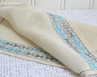 Embroidered linen tablecloth, vintage Swedish handcraft , beige , petrol and gray, seventies home decor , please view details