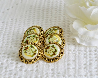 Golden flower buttons, vintage seventies plastic supply, craft supplies, gold decoration