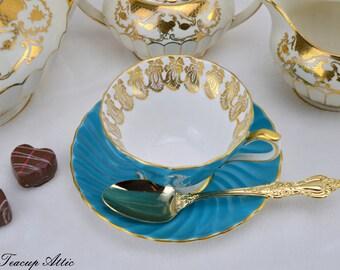 Aynsley Blue Swirled Teacup and Saucer Set, English Bone China Tea Cup,  ca. 1939