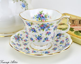 Royal Albert Nell Gwynne Series Covent Garden Teacup Set English Floral Bone China, Wedding Gift, Garden Party, ca. 1980