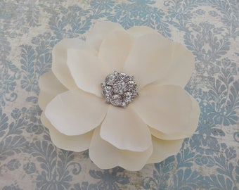 Bridal Ivory Flower Clip - Magnolia Rhinestone Hair Clip - Wedding Ivory Fascinator - Ivory Flower Brooch - Womens Ivory Hair Clip