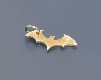Bat, Vampire symbol. Brown antique. Cut coin pendant necklace charm. Coincut jewelry