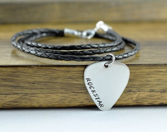 Valentines Day Gift / Personalized Hand Stamped Guitar Pick Necklace, Men's Personalized Guitar Pick Necklace, Gift For Men - I'd pick you