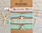hair ties, aqua beach bracelets, party favour, mermaid bracelets, beachy jewelry, hair accessory, friendship bracelets