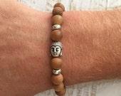 men's bracelet, sandlwood buddha bracelet, yoga jewelry