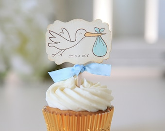 Baby Shower / Cupcake Toppers / It's a Boy / Stork / Gender Reveal / 12 Toppers