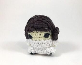 "Princess Leia from Star Wars Amigurumi Kawaii Keychain Miniature Doll ""Pod People"""