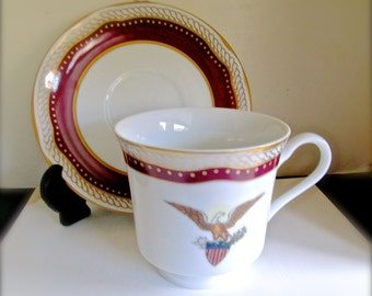 Abraham Lincoln Replica White House China Cup and Saucer by Woodmere  Never Used Box with Certificate