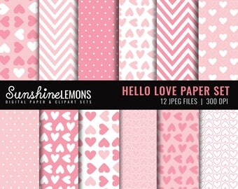 Hello Love Digital Scrapbooking Paper - COMMERCIAL USE Read Terms Below
