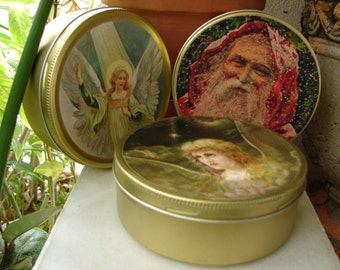 set 3 Vintage French wax tins with old Christmas images, Father Christmas, Victorian angels