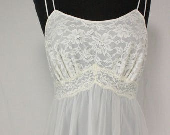 Vintage Vanity Fair Nightgown Nightie White Chiffon and Lace 34