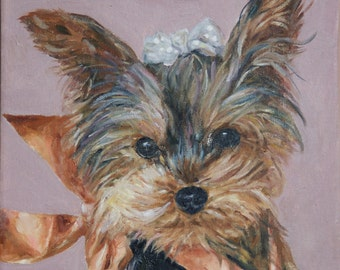 CUSTOM Dog Portrait Oil Painting commissioned Birthday Pet Memorial gift 12x12