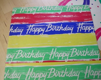 Vintage 80s Happy Birthday Kids/Children Adult Wrapping Paper