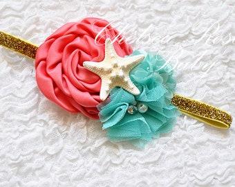 Coral Aqua Gold or Silver Mermaid Headband, Under the Sea headband, Starfish Headband, Mermaid Birthday Headband, Mermaid Hair bow