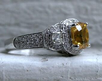 Stunning Estate 14K White Gold Diamond and Yellow Zircon Halo Ring - 4.52ct.