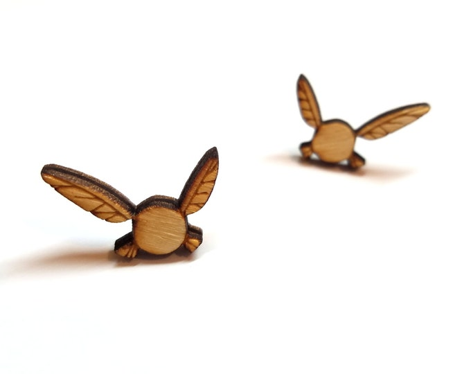 The Legend of Zelda Navi Earrings | Laser Cut Jewelry | Hypoallergenic Studs | Wood Earrings