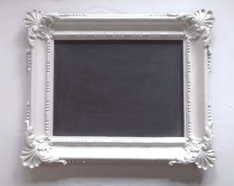 Large Framed Chalkboard, Ornate Vintage Blackboard, White Cottage Chic, Wedding Gift, Bridal Shower
