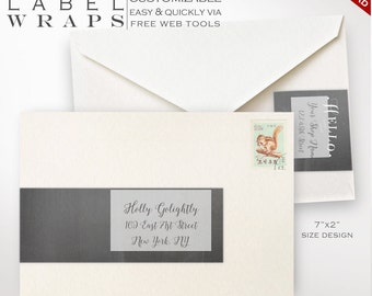 Envelope Wrap Labels - Chalkboard Printable Wrap Around Address Sticker Templates - Printable Address Labels Avery Silhouette LBEW AAA