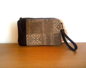 NEW snakeskin clutch, wristlet, Aztec, Navajo, tribal design, leather and chenille fabric. Black leather, warm tone fabric. Ready to ship