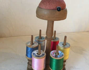 Vintage PIN CUSHION On Top of Pedestal with 6 Spool Holder Carusel Surrounding the Base.  Sewing Caddy with Spool Holders and Pin Cushion.