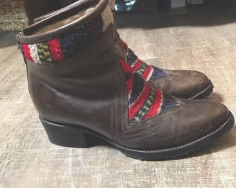 Leather with Woven Detail Ankle Boots Made in Mexico size 7 Womens