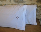 French bolster pillow covers - white cotton taies de traversin with jours and applique
