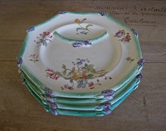 French asparagus plates, 4 hand painted majolica Longchamp serving platters for asparagus