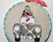 VW Bug Beetle Love- hoop art, scrapy happy bug car, gift