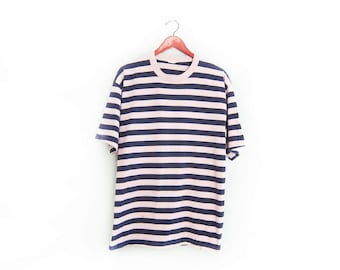 vintage t shirt / striped / oversize / 1990s grey and navy striped baggy t shirt Large