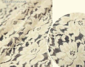 Winter lace fabric Cream with Yellow Beige flower Lace Fabric Floral Lace Brushed Lace Embroidery Fabric Lace stretch fabric - One yard W121