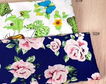 Pink Rose Fabric Butterfly bee Fabric,Shabby Chic Flower Fabric,Green leaves Cotton,Pink Floral Cotton Fabric 1/2 Yard(QT1188)