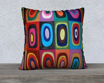 Large Retro Circles & Squares Velveteen Cushion Cover