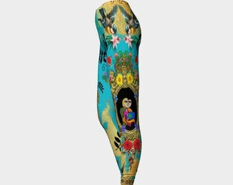 Funky Picassos, Flowers Blue and Gold Leggings - Fashionable - Active Wear