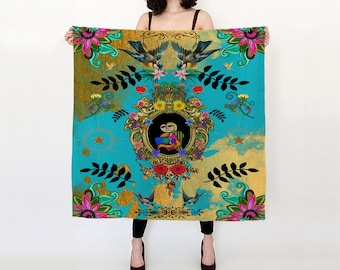 Funky Picassos, Flowers Blue and Gold Satin Charmeuse Scarf