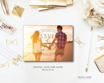 Postal Photo Print Save the Date | Photo Wedding Save the Date Invitation | Printed or Printable by Darby Cards