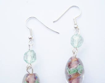 Pink and green beaded earrings.