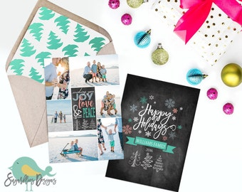 Holiday Card PHOTOSHOP TEMPLATE - Family Christmas Card 1960