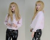 90s Soft Grunge Baby Pink Cropped Denim Jacket S / M