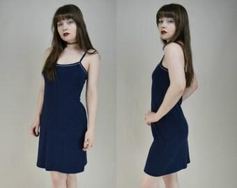 90s Navy Blue Soft Cotton Tank Mini Dress S
