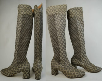 60s 70s Anello & Davide Mushroom Knee High Diamond Pattern Go Go Boots UK 6 / US 8.5 / EU 39