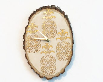 Gold Pineapple Clock,  Home Decor, Reclaimed Wood, Home and Living