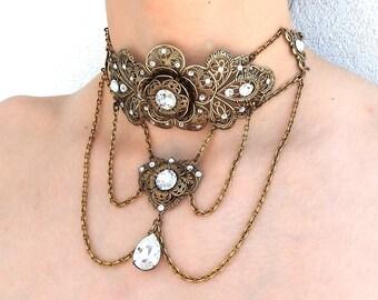 Brass Victorian Necklace Choker Swarovski Crystal Choker Victorian Jewelry Necklace Wedding Necklace Wedding Jewelry Victorian Necklace