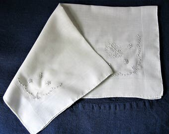Handkerchief M Initials Monograms Hand Embroidered on Large White Linen Hankie An Wedding Heirloom Keepsake Handkerchief for the Bride
