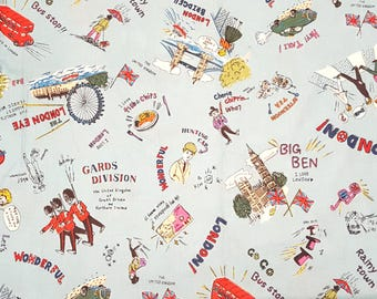 London landmarks fabric in light blue, British fabric, London bus, big ben, London bridge, boys fabric, made in Japan, fat quarter