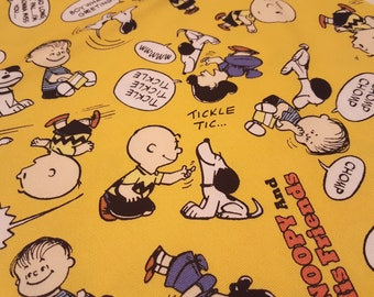 "Peanuts licensed Snoopy and Charlie Brown fabric, Made in Japan, cute snoopy fabric in yellow, children fabric, 19.5"" x 20"""