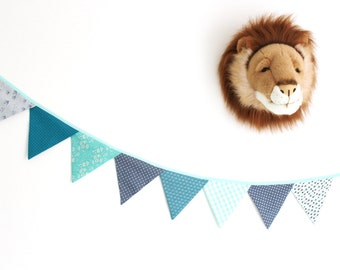 Flags Garland fabric in mint and grey tones - ON ORDER