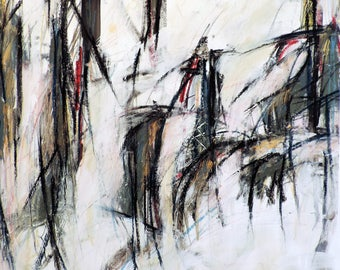 1-8-17a  (abstract expressionist painting, black, green, blue, red, pastel, white, ivory, cream)