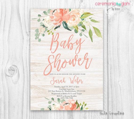 rustic floral baby shower girl invitation boho baby shower, Baby shower invitations