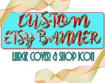 CUSTOM Etsy Banner & Shop Icon, NEW SIZE Etsy Banner Set, Custom Graphic Design, New Seller Design, Original Art - Custom Blog Header