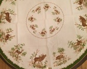 """Vintage round 57""""  Hunters tablecloth North woods Cabin Tablecloth New Walterscheid Germany Deer Rabbit Wild Boar Pheasant"""